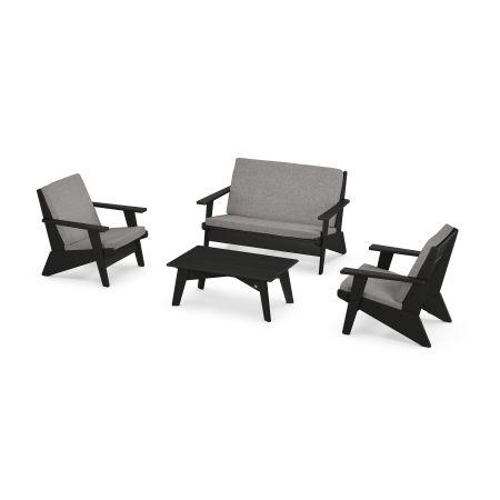 Riviera Modern Lounge 4-Piece Set in Black / Grey Mist