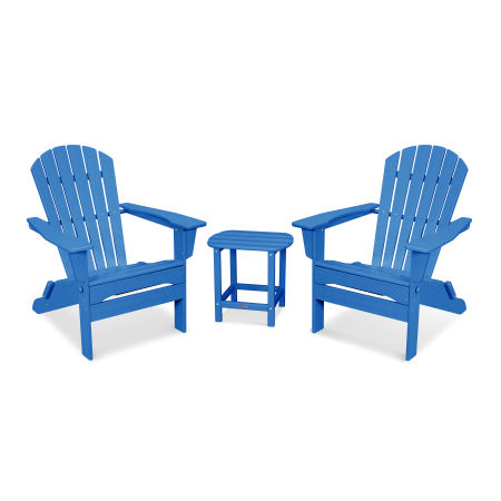 South Beach 3-Piece Folding Adirondack Set in Pacific Blue