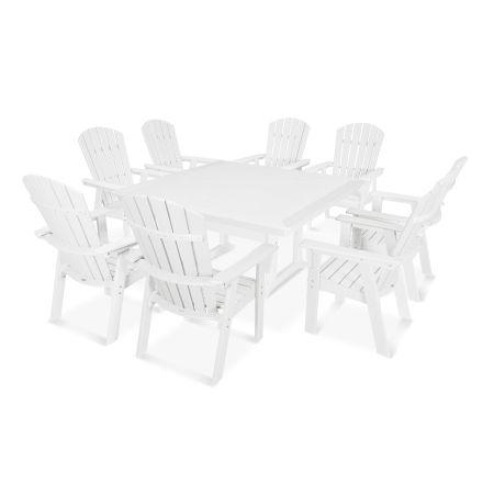 Nautical Adirondack 9-Piece Trestle Dining Set in Vintage White