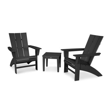 Modern 3-Piece Curveback  Adirondack Set in Black