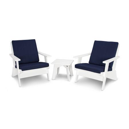 Riviera Modern Lounge 3-Piece Set in White / Spectrum Indigo