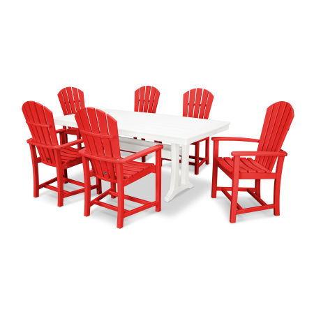 Palm Coast 7 Piece Dining Set in Sunset Red