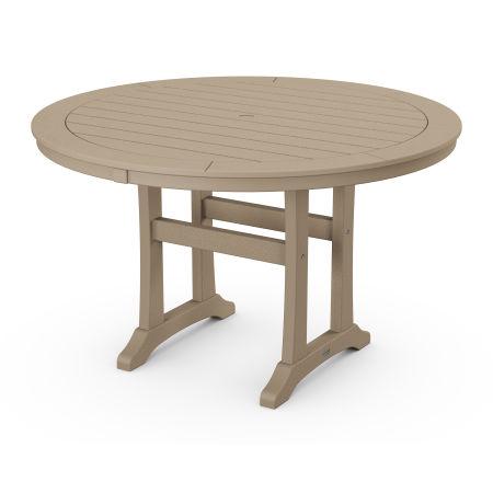"Nautical Trestle 48"" Round Dining Table in Vintage Sahara"