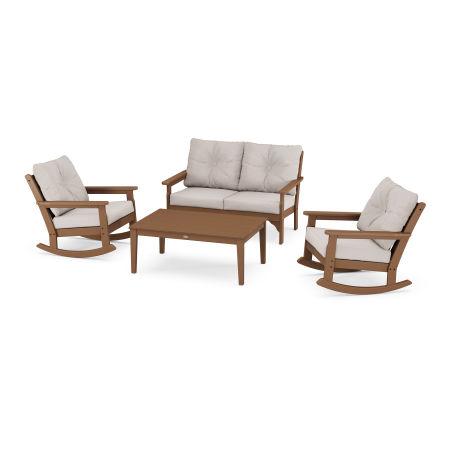 Vineyard 4-Piece Deep Seating Rocking Chair Set in Teak / Dune Burlap