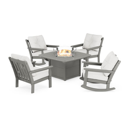 Vineyard 5-Piece Deep Seating Rocking Chair Conversation Set with Fire Pit Table in Slate Grey / Natural Linen