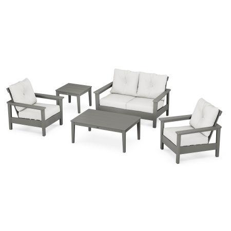 Prescott 5-Piece Deep Seating Set in Slate Grey / Natural Linen