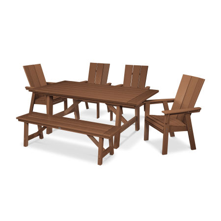 Modern Adirondack 6-Piece Rustic Farmhouse Dining Set with Bench in Teak