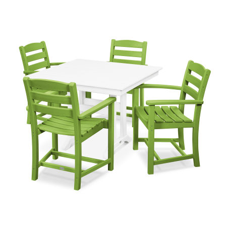 La Casa Café 5-Piece Farmhouse Arm Chair Dining Set in Lime / White