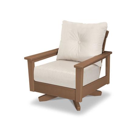 Prescott Deep Seating Swivel Chair in Teak / Antique Beige