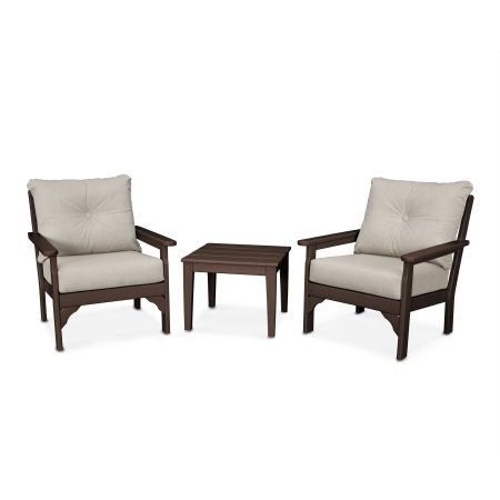 Vineyard 3-Piece Deep Seating Set in Mahogany / Cast Ash