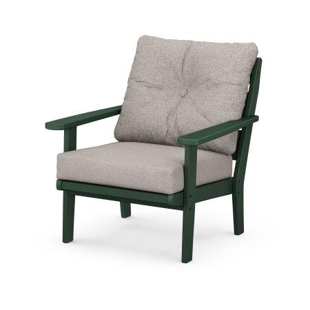 Lakeside Deep Seating Chair in Green / Weathered Tweed