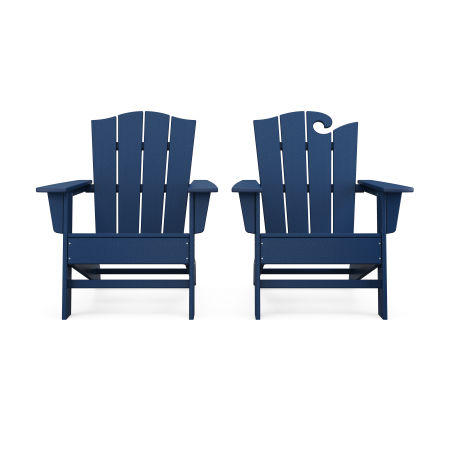 Wave 2-Piece Adirondack Chair Set with The Crest Chair in Navy