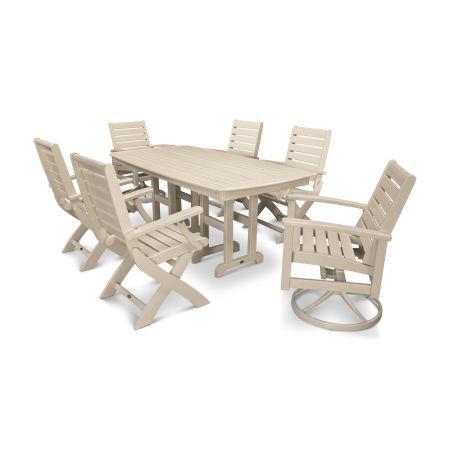 Signature 7-Piece Swivel Dining Set in Satin Tan / Sand