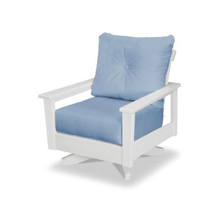 Prescott Deep Seating Swivel Chair in White / Air Blue
