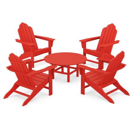 Long Island Adirondack 5-Piece Conversation Group in Sunset Red