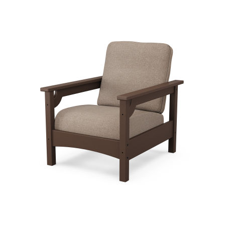 Club Chair in Mahogany / Spiced Burlap
