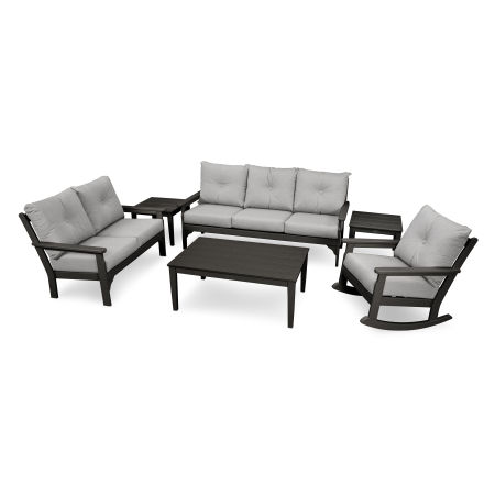 Vineyard 6-Piece Deep Seating Set in Black / Canvas Granite