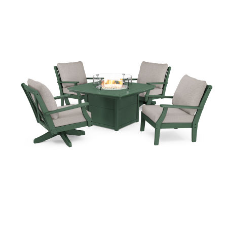 Braxton 5-Piece Deep Seating Set with Fire Table in Green / Weathered Tweed