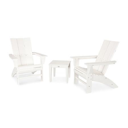 Modern 3-Piece Curveback  Adirondack Set in White