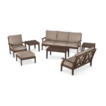 Braxton 7-Piece Deep Seating Set in Mahogany / Spiced Burlap