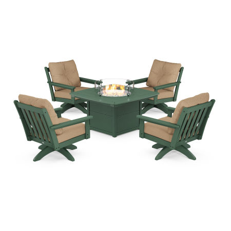 Vineyard 5-Piece Deep Seating Swivel Conversation Set with Fire Pit Table in Green / Sesame
