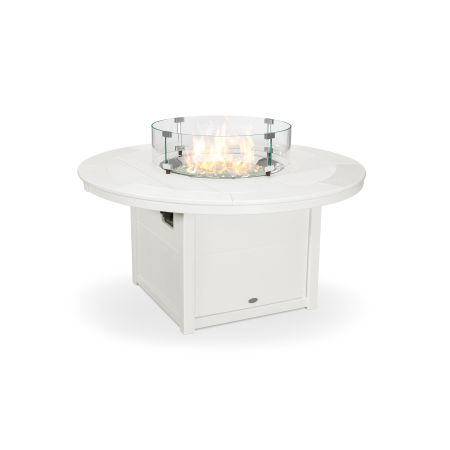 """Round 48"""" Fire Pit Table in Vintage White"""