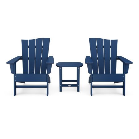 Wave 3-Piece Adirondack Chair Set in Navy