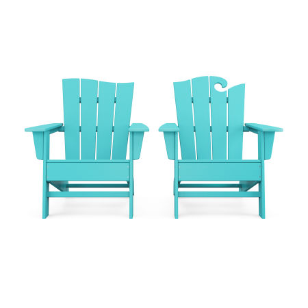 Wave 2-Piece Adirondack Set with The Wave Chair Left in Aruba