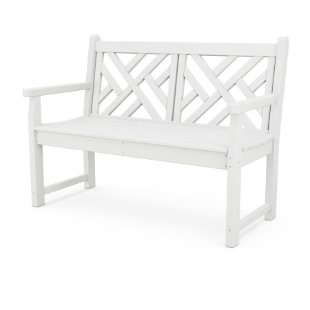 "Chippendale 48"" Bench in White"