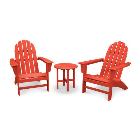 Vineyard 3-Piece Adirondack Set in Vintage Sunset Red