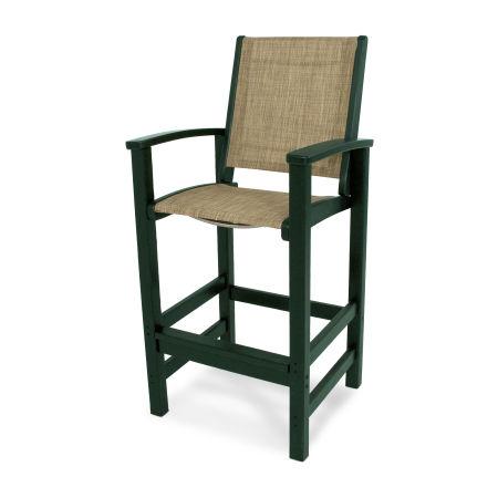 Coastal Bar Chair in Green / Burlap Sling