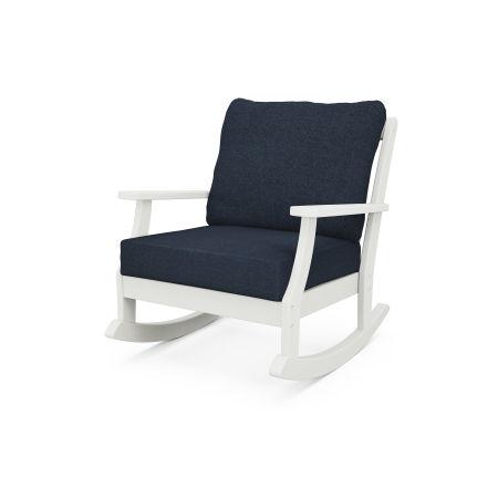 Braxton Deep Seating Rocking Chair in Vintage White / Marine Indigo