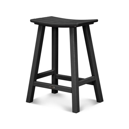 """Traditional 24"""" Saddle Bar Stool in Black"""