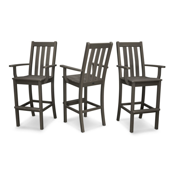 Vineyard Bar Arm Chair 3-Pack in Vintage Finish