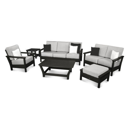 Harbour 6-Piece Outdoor Living Set with Pillows in Black / Canvas Granite