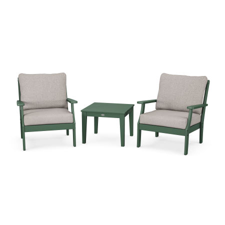 Braxton 3-Piece Deep Seating Set in Green / Weathered Tweed