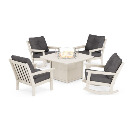 Vineyard 5-Piece Deep Seating Rocking Chair Conversation Set with Fire Pit Table in Sand / Antler Charcoal