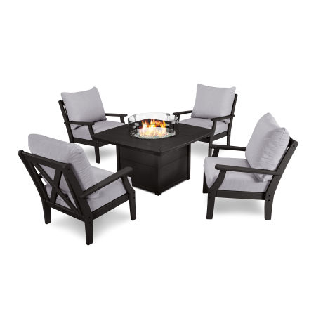 5-Piece Deep Seating Conversation Set with Fire Pit Table in Black / Granite