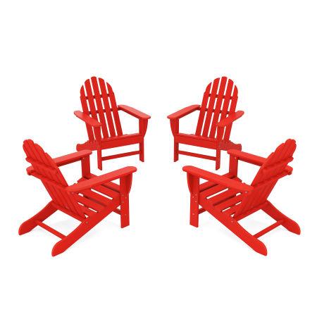 4-Piece Classic Adirondack Conversation Set in Sunset Red