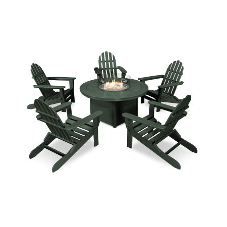 Classic Folding Adirondack 6-Piece Conversation Set with Fire Pit Table in Green