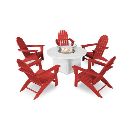 Vineyard Adirondack 6-Piece Chat Set with Fire Pit Table in Sunset Red