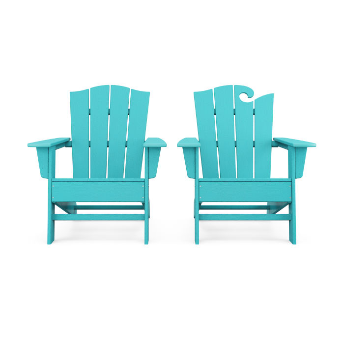 Wave 2-Piece Adirondack Chair Set with The Crest Chair in Vintage Finish