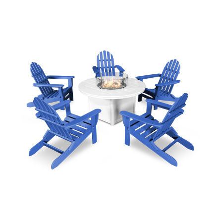 Classic Folding Adirondack 6-Piece Conversation Set with Fire Pit Table in Pacific Blue