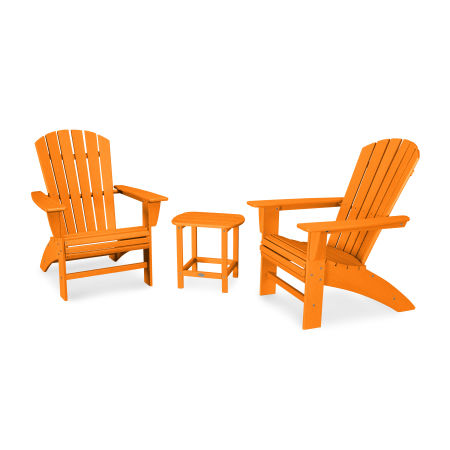 Nautical 3-Piece Curveback Adirondack Set in Vintage Tangerine