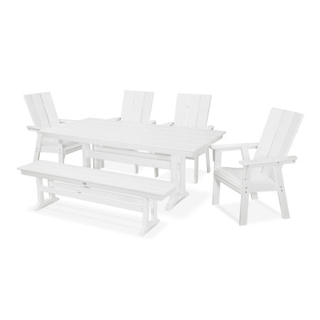 Modern Adirondack 6-Piece Farmhouse Dining Set with Bench in White