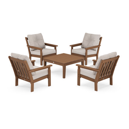 Vineyard 5-Piece Deep Seating Conversation Set in Teak / Dune Burlap