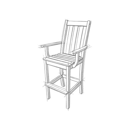 Vineyard Bar Arm Chair in Vintage White