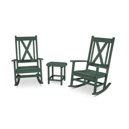 Braxton 3-Piece Porch Rocking Chair Set in Green