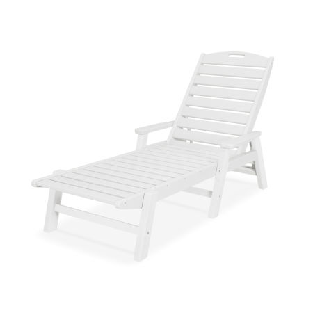 Nautical Chaise with Arms in White