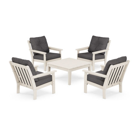 Vineyard 5-Piece Deep Seating Conversation Set in Sand / Ash Charcoal